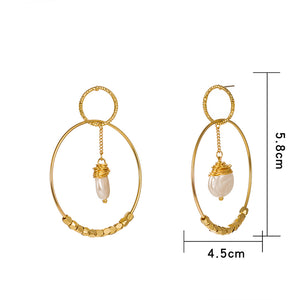 Double Hoop Earrings 18k Gold with Cubic Zirconia and Simulated Pearl - Hollywood Sensation