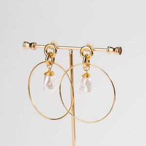 Drop Hoop Earrings Gold Plated with Simulated Pearl Drop - Hollywood Sensation