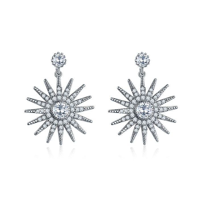 Star Dangle Earrings with White Diamond  Cubic Zirconia