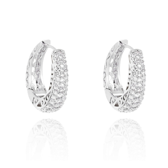 White Gold Crystal Hoop Earrings