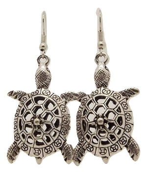 Turtle Retro Vintage Drop Dangle Silver Earring - Hollywood Sensation
