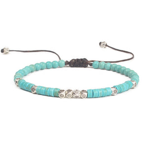 Friendship Bracelet Handwoven Turquoise and Gold or Silver