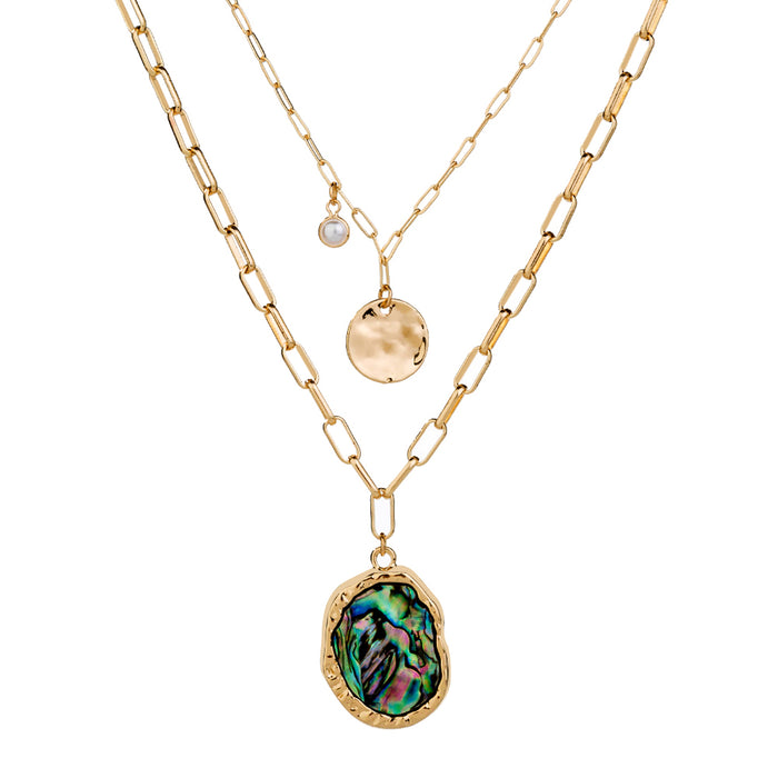 Gold Two Layer  Necklace with Abalone Pendants