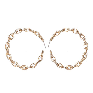 Gold Chain Link Hoop Earrings