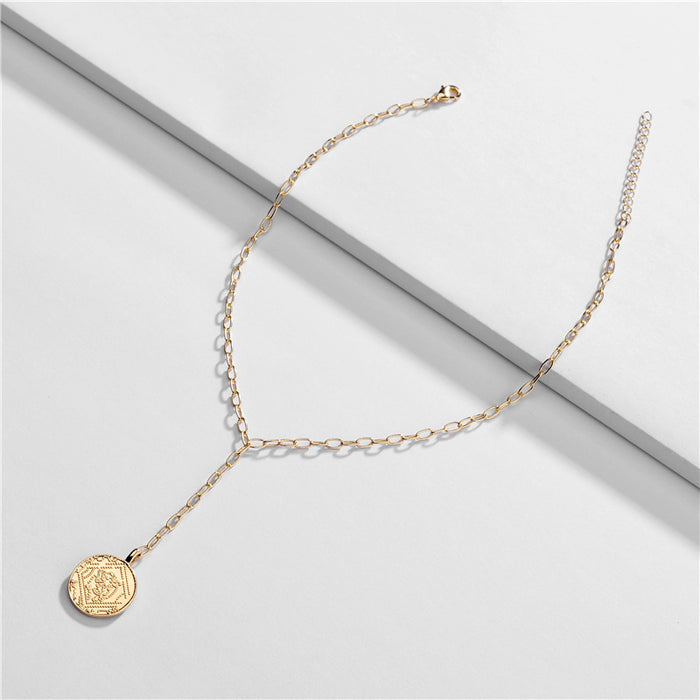 Gold Coin Lariat Necklace-Hollywood Sensations Coin Pendant Necklace