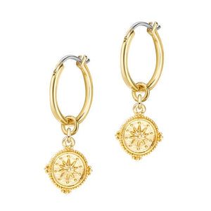 Gold Compass Dangle Huggie Earrings