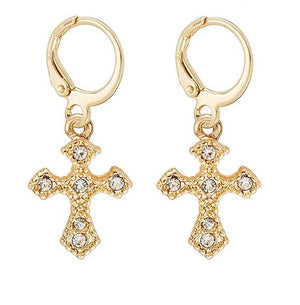 Gold Cross Huggie Hoop Dangle Earrings