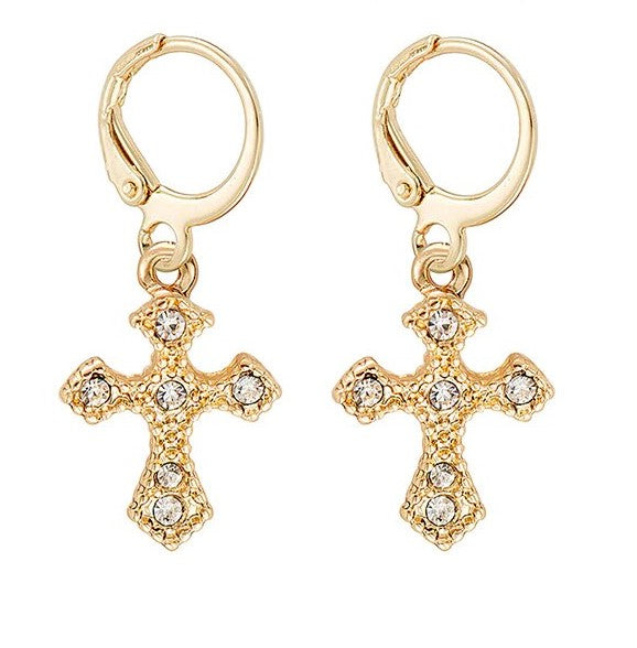 Gold and Crystal Cross Huggie  Earrings