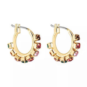 Gold Crystal Rainbow Huggie Earrings, Fashion Jewelry Brands