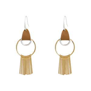 Gold Hoop Earrings with Gold Tassel and Leather Hook - Hollywood Sensation