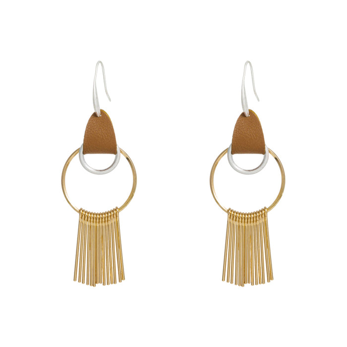 Gold Hoop Earrings with Gold Tassel and Leather Hook