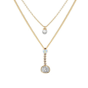 Gold Layered Necklace with Druzy Stone and Cubic Zirconia - Hollywood Sensation