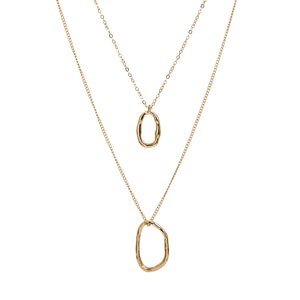 Gold Layered Necklace with Geometric Circles - Hollywood Sensation