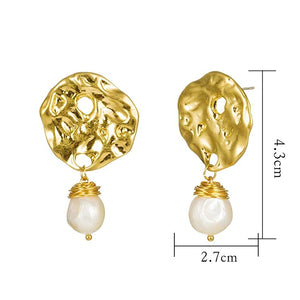 Hammered Gold Earrings Drop with Baroque Freshwater Pearls - Hollywood Sensation