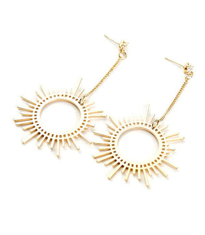Gold Plated Dangle Sun Earrings - Hollywood Sensation