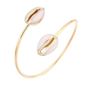 Gold Puka Seashell Open Bangle - Hollywood Sensation
