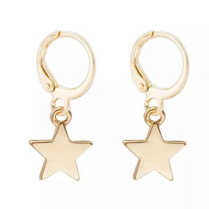 Gold Star Dangle Huggie Earrings