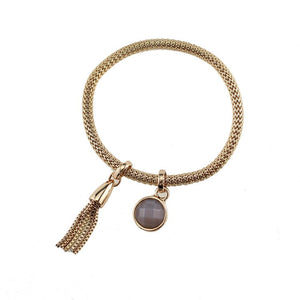Tassel Charm Gold Bracelet Bangle With Crystal - Hollywood Sensation