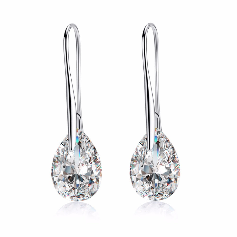 Crystal Drop Earrings-Crystal Dangle Earrings-Silver Crystal Drop Earrings - Hollywood Sensation