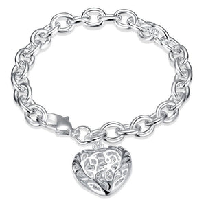 Silver Chain Heart Charm Bracelet - Hollywood Sensation