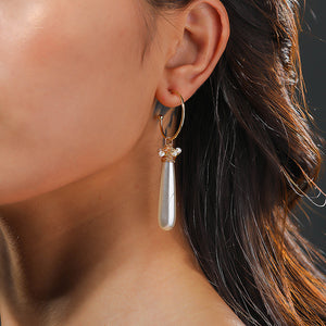 Hoop Dangle Earring with Fax Pearl