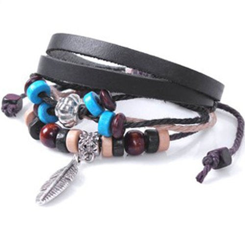 Feather Boho Faux Leather Wrap Bracelet Unisex