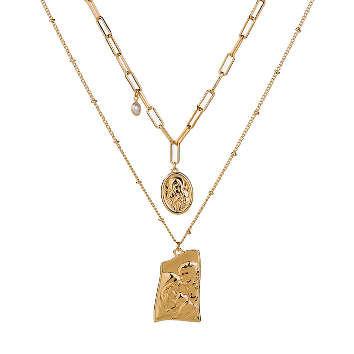 Jesus Mary and Joseph Pendant Layer Necklace