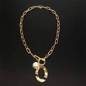 Large Link Necklace Gold Plated with Simulated Pearl - Hollywood Sensation