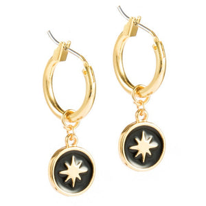 North Star Huggie Dangle Earrings