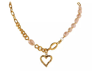 Pearl Link Necklace with Heart Pendant