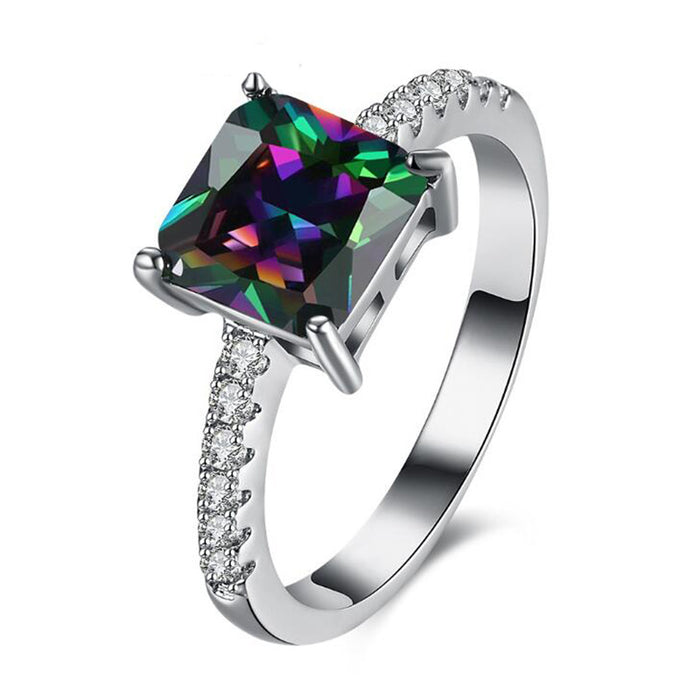 Princess Cut Mystic Topaz Ring-Hollywood Sensations-Mystic topaz Ring White Gold