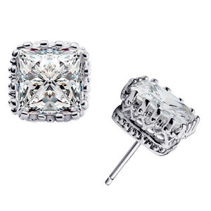 Princess Cut Stud Earrings , Fashion Jewelry Brands