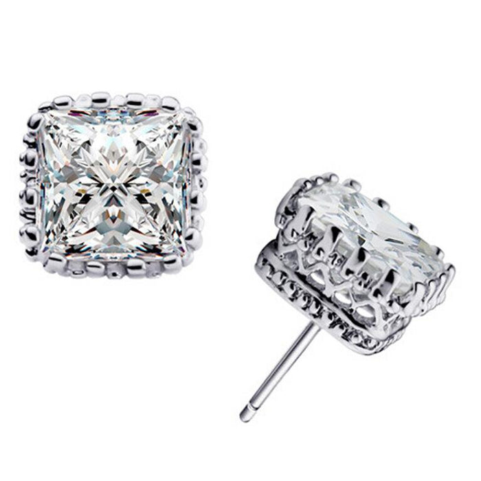 Princess Cut Earrings-Hollywood Sensation's- Stud Earrings with CZ Stone