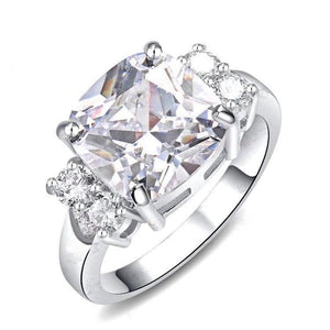 Cubic Zirconia Classic Cushion White Gold Ring Fashion Jewelry Brands
