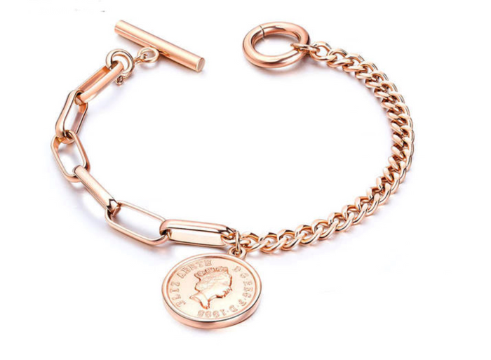 Rose Gold Link Bracelet with Coin Charm and Toggle Clasp