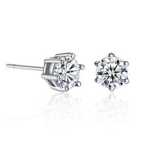 Round Cut Cubic Zirconia Stud Earrings , Fashion Jewelry Brands