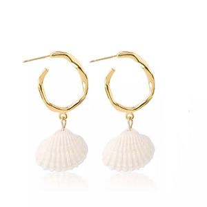 Seashell Dangle Hoop Earrings Gold Plated - Hollywood Sensation
