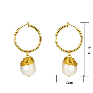 Small Gold Hoop Earrings with Drop Baroque Freshwater Pearls - Hollywood Sensation