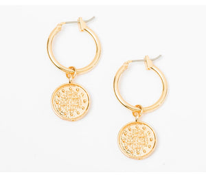 Gold Huggie Earrings with  Gypsy Coin