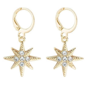 Star Huggie Dangle Earrings