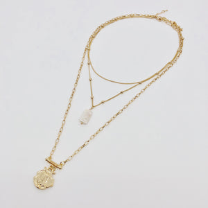 Three Layer Necklace with Simulated Pearl and Gold Pendant - Hollywood Sensation