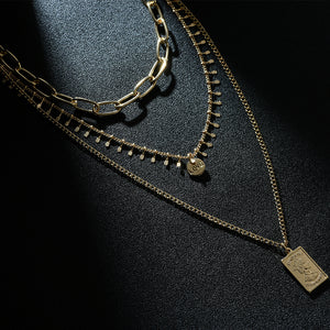 Three Layer Necklace with a Rectangle Pendant - Hollywood Sensation