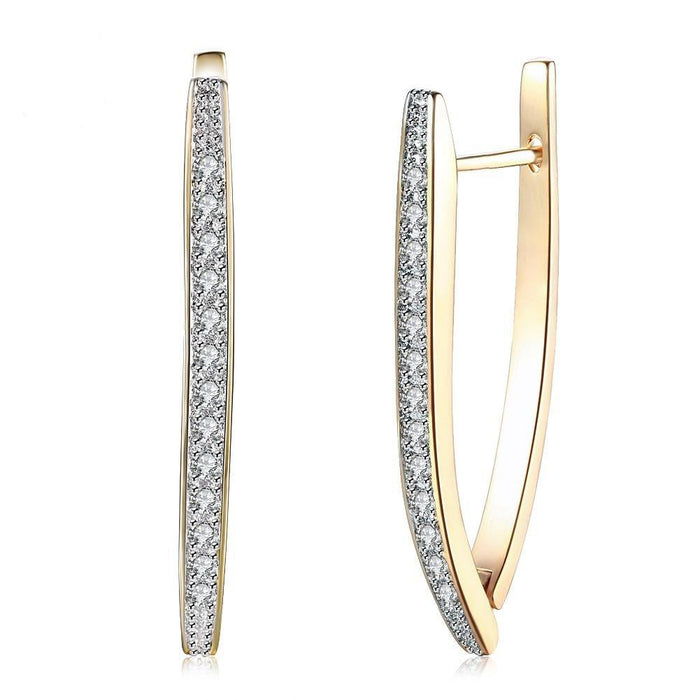 Triangle Hoop Earrings Gold Plate with Cubic Zirconia
