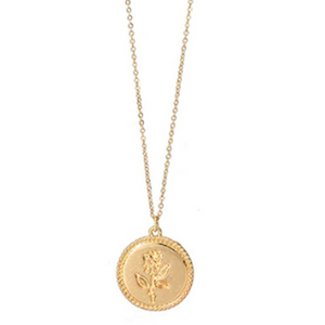 Dainty Rose Flower Coin Necklace