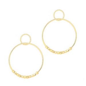 Large Double Hoop Dangle Earrings in Gold or Silver