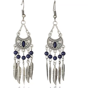 Boho Vintage Feather Tassel Dangle Earrings - Hollywood Sensation