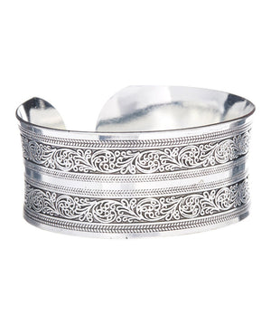 Vintage Silver Cuff Bangle Bracelet - Hollywood Sensation