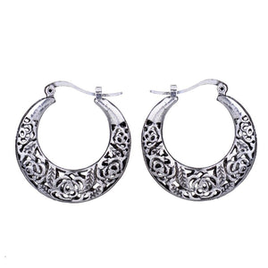 Boho Vintage Silver Hoop Earrings - Hollywood Sensation