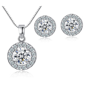 White Gold Halo Crystal Pendant Necklace & Halo Stud Earrings