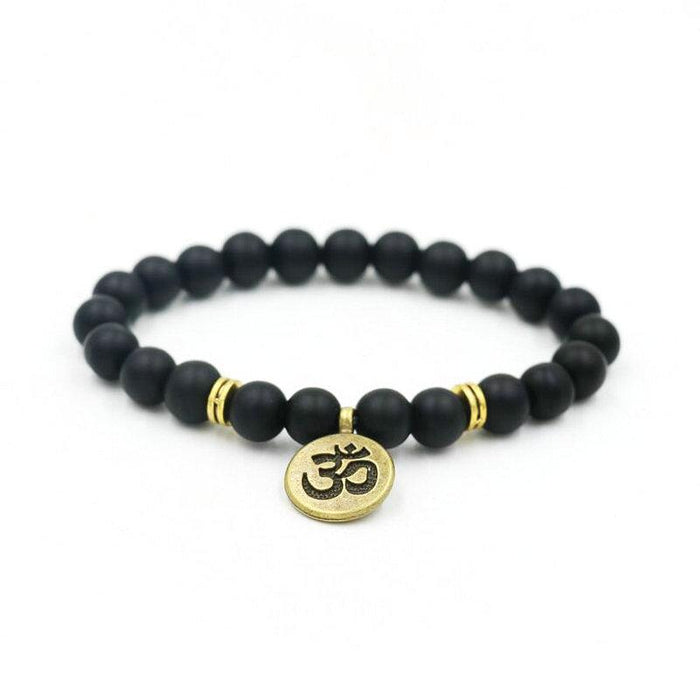 Yoga Bracelets Black Beaded with Spiritual Charms